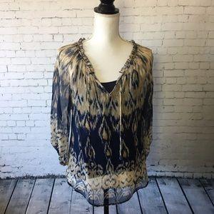 ⭐️ Joie Silk Ikat Print Peasant Blouse